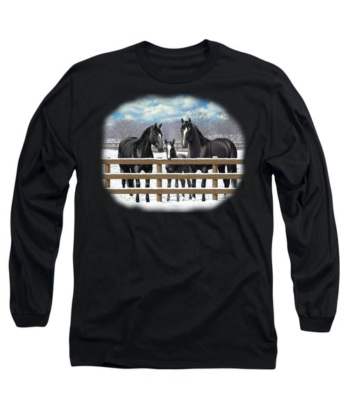 Black Quarter Horses In Snow Long Sleeve T-Shirt