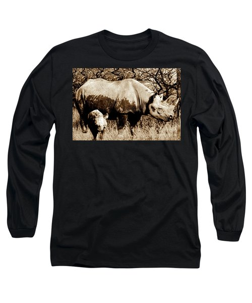 Black Rhino And Youngster Long Sleeve T-Shirt