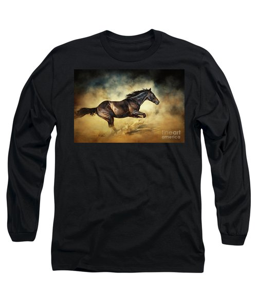 Black Stallion Horse Galloping Like A Devil Long Sleeve T-Shirt