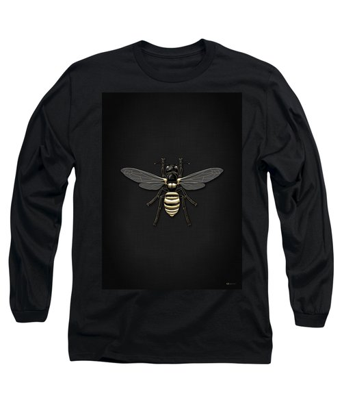 Black Wasp With Gold Accents On Black  Long Sleeve T-Shirt by Serge Averbukh