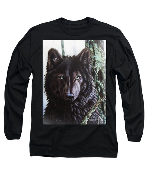 Black Wolf Long Sleeve T-Shirt by Sandi Baker