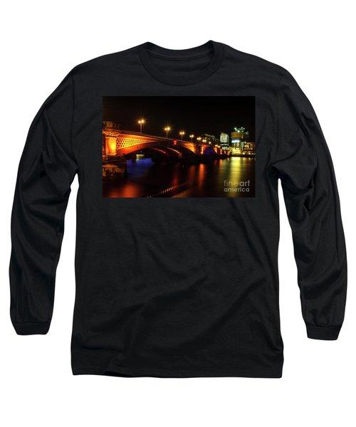 Blackfriars Bridge Illuminated In Orange Long Sleeve T-Shirt