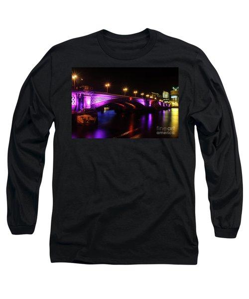 Blackfriars Bridge Illuminated In Purple Long Sleeve T-Shirt