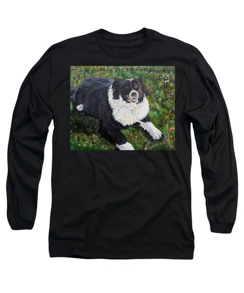 Long Sleeve T-Shirt featuring the painting Blackie by Marilyn  McNish