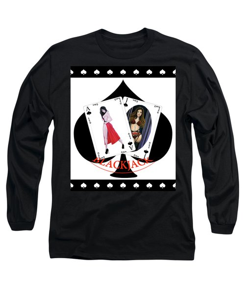 Black Jack Spades Long Sleeve T-Shirt by Joseph Ogle