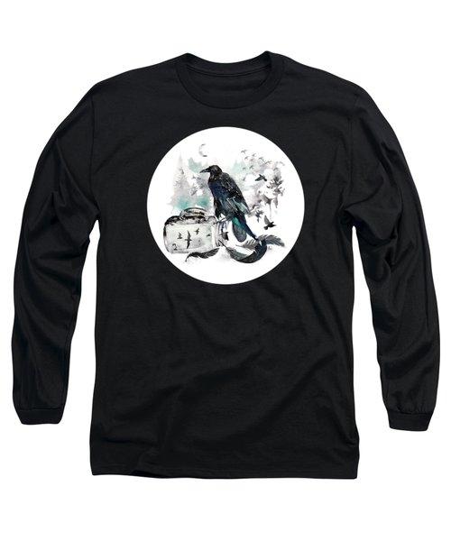 Blackwinged Birds Fly Past The Moonlit Raven's Eye Long Sleeve T-Shirt