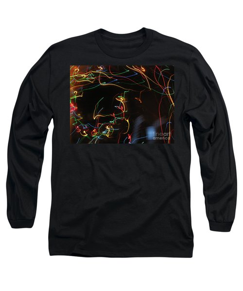 Long Sleeve T-Shirt featuring the photograph Blizzard Of Colorful Lights. Dancing Lights Series by Ausra Huntington nee Paulauskaite