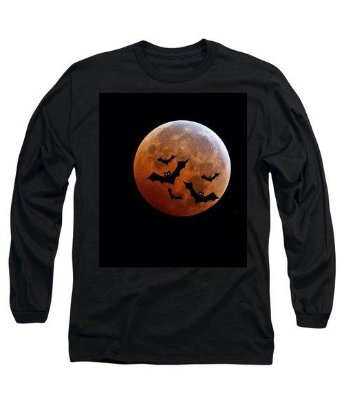 Blood Full Moon And Bats Long Sleeve T-Shirt