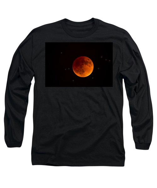 Blood Moon Lunar Eclipse 2015 Long Sleeve T-Shirt by Saija  Lehtonen