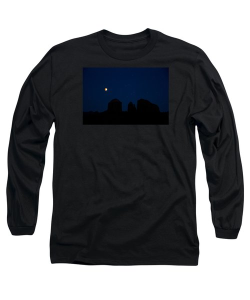 Blood Moon Over Cathedral Long Sleeve T-Shirt by Tom Kelly