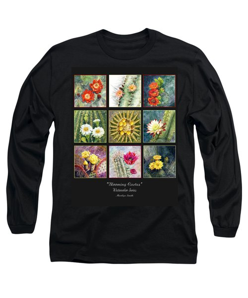 Long Sleeve T-Shirt featuring the painting Blooming Cactus by Marilyn Smith