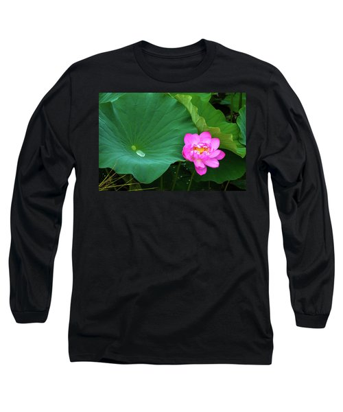 Blooming Pink And Yellow Lotus Lily Long Sleeve T-Shirt
