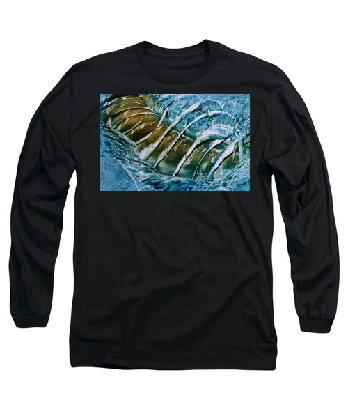 Blue Abstract Dark Ribbon Centre Long Sleeve T-Shirt