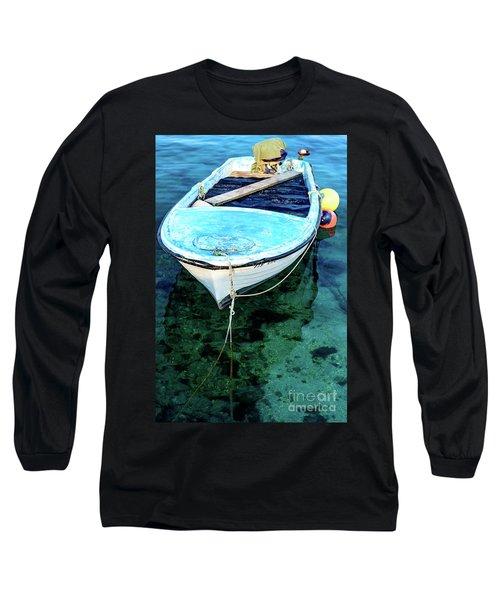 Blue And White Fishing Boat On The Adriatic - Rovinj, Croatia Long Sleeve T-Shirt