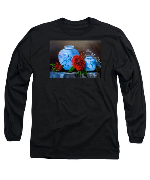 Long Sleeve T-Shirt featuring the painting Blue And White Pottery And Red Roses by Jenny Lee