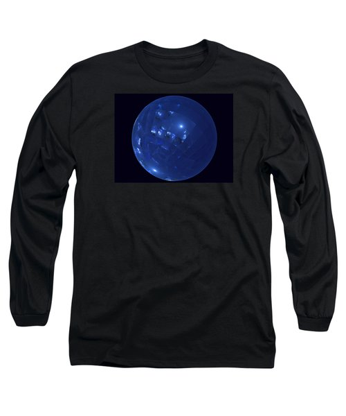 Blue Big Sphere With Squares Long Sleeve T-Shirt by Ernst Dittmar