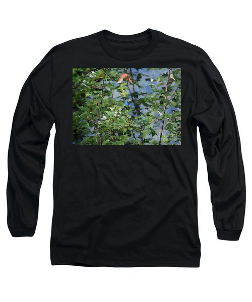 Long Sleeve T-Shirt featuring the photograph Blue Bird On Silk by Gary Smith