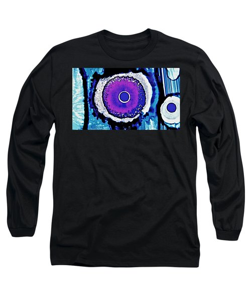 Blue Black Purple Nucleus Abstract #2 Alcohol Inks  Long Sleeve T-Shirt