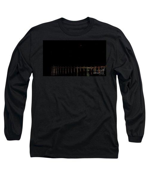 Blue Blood Moon 2018 Ventura, California Pier Long Sleeve T-Shirt