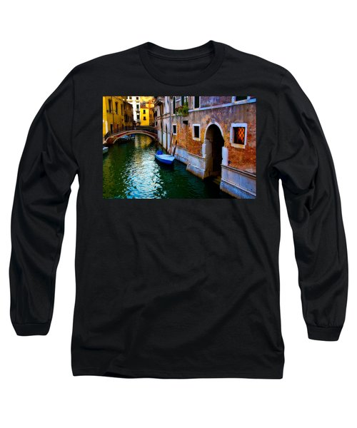 Blue Boat At Twilight Long Sleeve T-Shirt by Harry Spitz