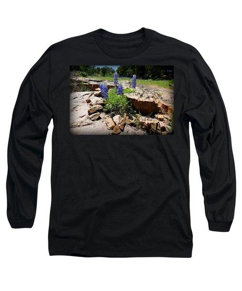 Blue Bonnets On The Rocks Long Sleeve T-Shirt