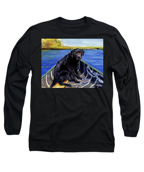 Long Sleeve T-Shirt featuring the painting Blue Canoe by Molly Poole