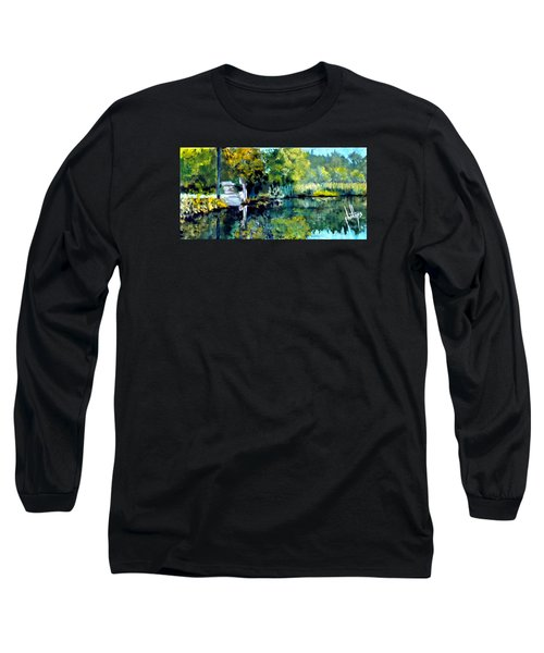 Long Sleeve T-Shirt featuring the painting Blue Creek Fish Camp by Jim Phillips