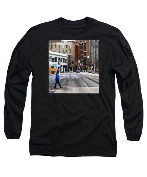 Blue Down Jacket Long Sleeve T-Shirt