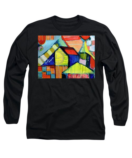 Long Sleeve T-Shirt featuring the painting Blue Fin's Fresh Seafood by Susan Stone