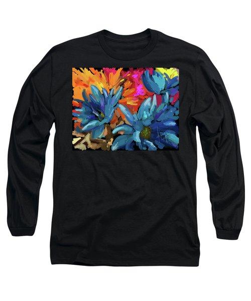 Blue Flowers 2 Long Sleeve T-Shirt by DC Langer
