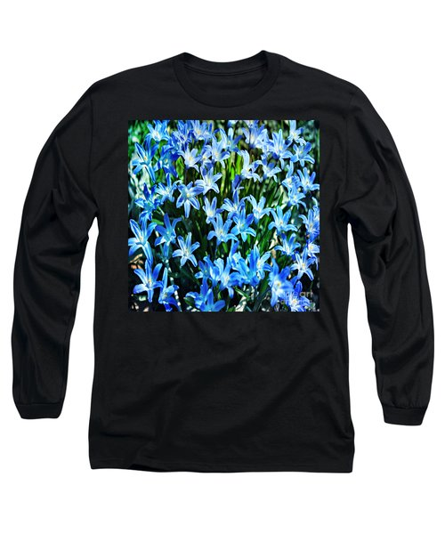 Blue Glory Snow Flowers  Long Sleeve T-Shirt
