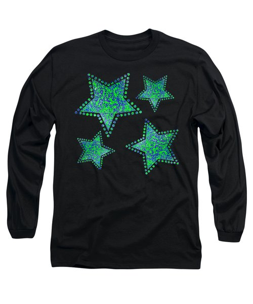 Blue Green Splatter Long Sleeve T-Shirt