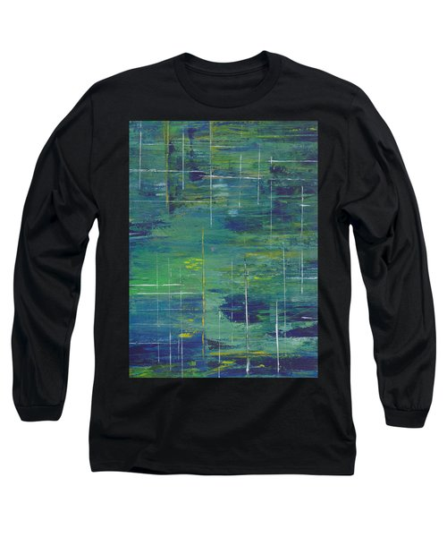 Blue Green Yellow Abstract  Long Sleeve T-Shirt by Patricia Cleasby