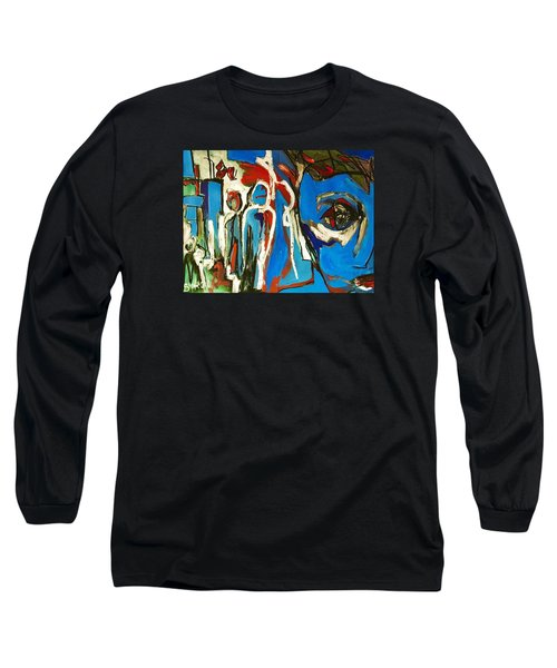 Long Sleeve T-Shirt featuring the painting Blue by Helen Syron