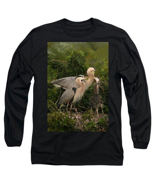Blue Heron Family Long Sleeve T-Shirt by Shari Jardina