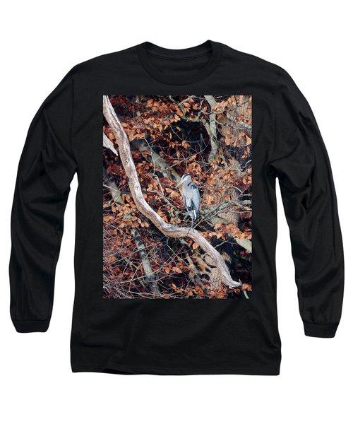 Blue Heron In Tree Long Sleeve T-Shirt