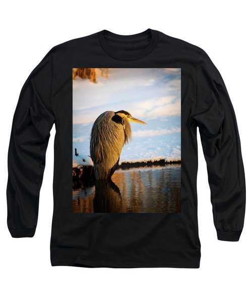 Blue Heron Resting Long Sleeve T-Shirt