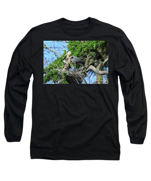 Long Sleeve T-Shirt featuring the photograph Blue Heron Series Baby 1 by Deborah Benoit