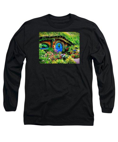 Blue Hobbit Door Long Sleeve T-Shirt by Kathy Kelly