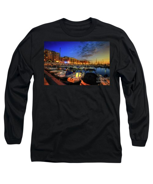 Long Sleeve T-Shirt featuring the photograph Blue Hour At Port Nice 1.0 by Yhun Suarez