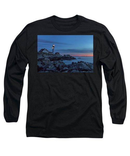 Blue Hour At Portland Head Light Long Sleeve T-Shirt