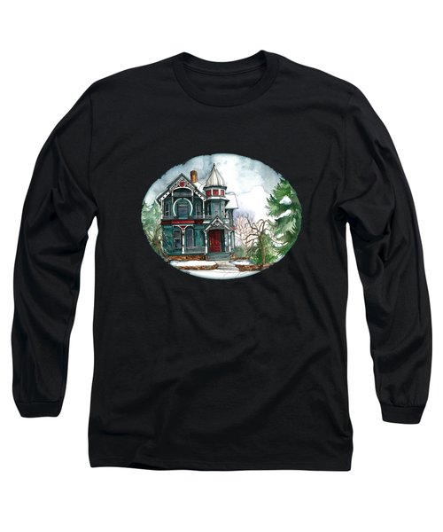 Blue House On A Grey Day Long Sleeve T-Shirt