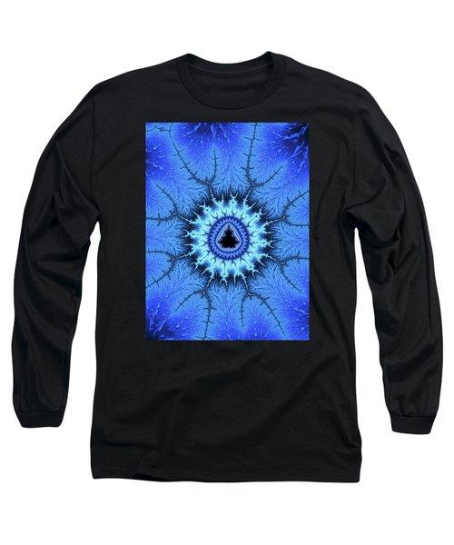 Long Sleeve T-Shirt featuring the digital art Blue Mandelbrot Fractal Relaxing And Balanced by Matthias Hauser