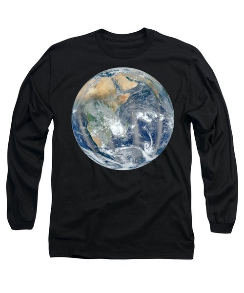 Blue Marble 2012 - Eastern Hemisphere Of Earth Long Sleeve T-Shirt by Nikki Marie Smith