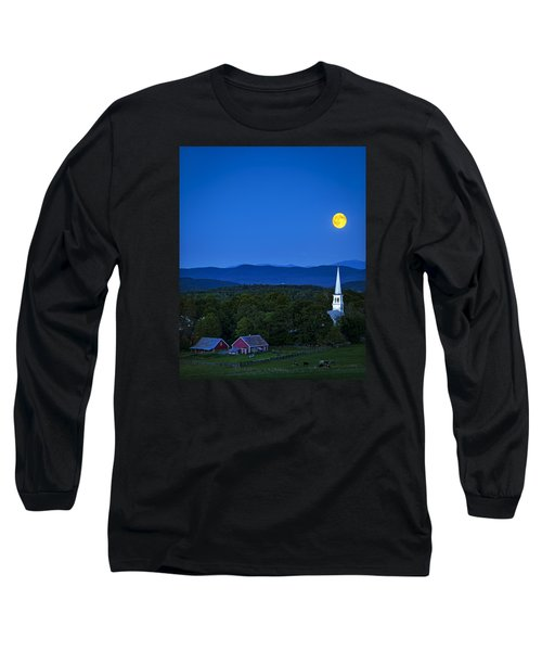 Blue Moon Rising Over Church Steeple Long Sleeve T-Shirt by John Vose