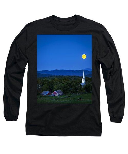 Blue Moon Rising Over Church Steeple Long Sleeve T-Shirt