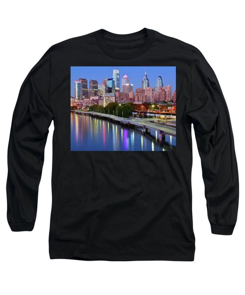 Long Sleeve T-Shirt featuring the photograph Blue Night Lights In Philly by Frozen in Time Fine Art Photography