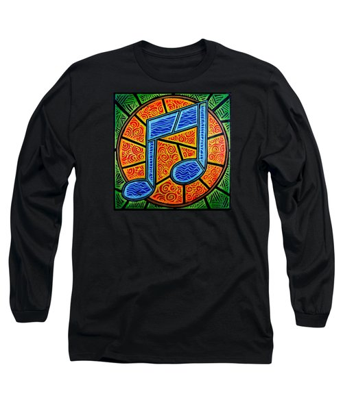 Long Sleeve T-Shirt featuring the painting Blue Note On Red by Jim Harris