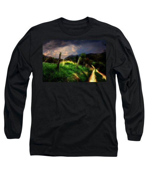 Long Sleeve T-Shirt featuring the photograph Blue Ridge Mountain Country Road by Gray  Artus