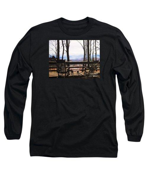 Blue Ridge Mountain Porch View Long Sleeve T-Shirt by Patricia L Davidson